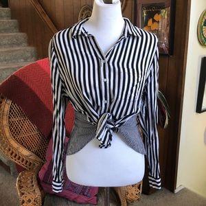 Jane & Delancey Black & White Striped Button Down